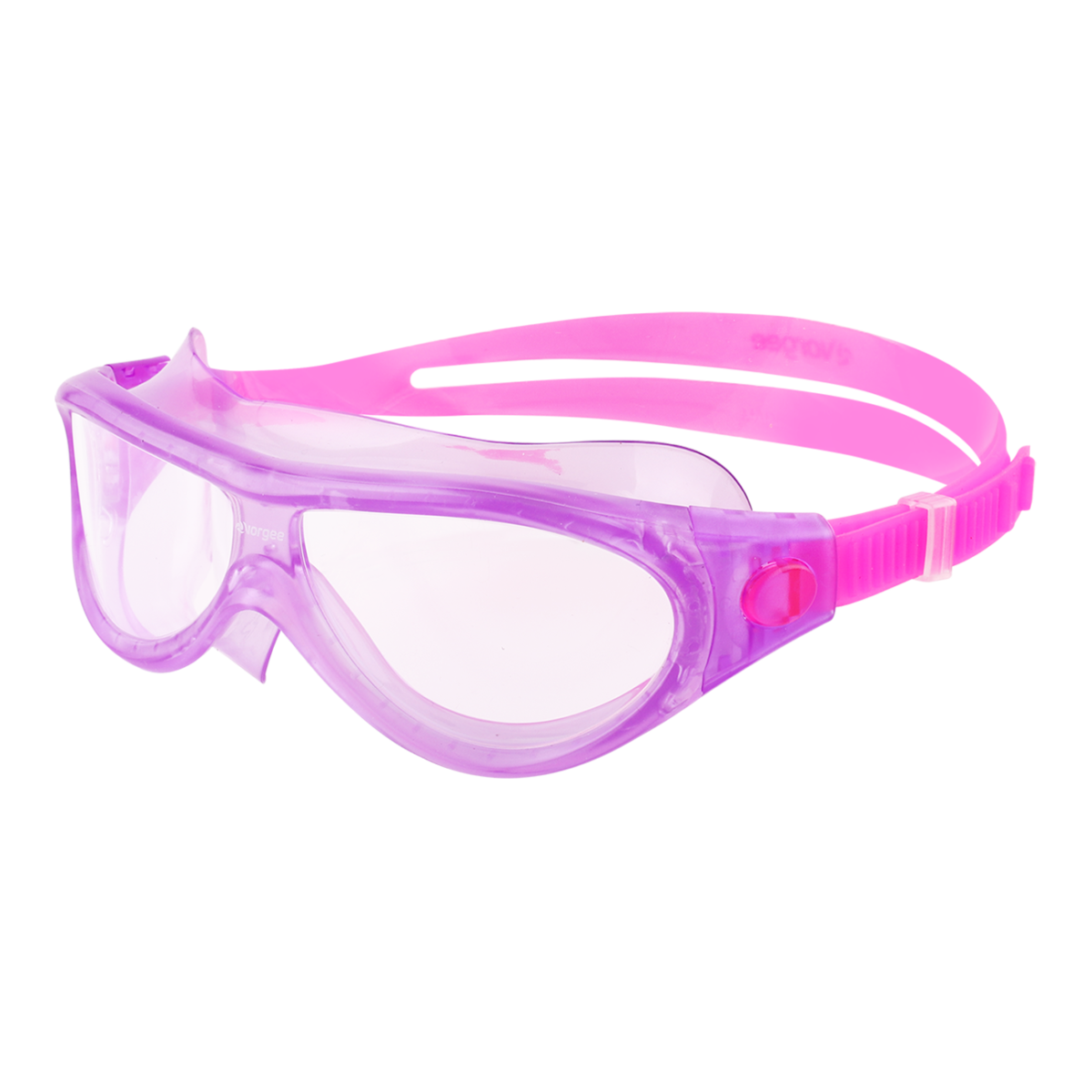 Purple and pink junior mask style swimming goggles for children. Endorsed by Kids Alive Do the Five